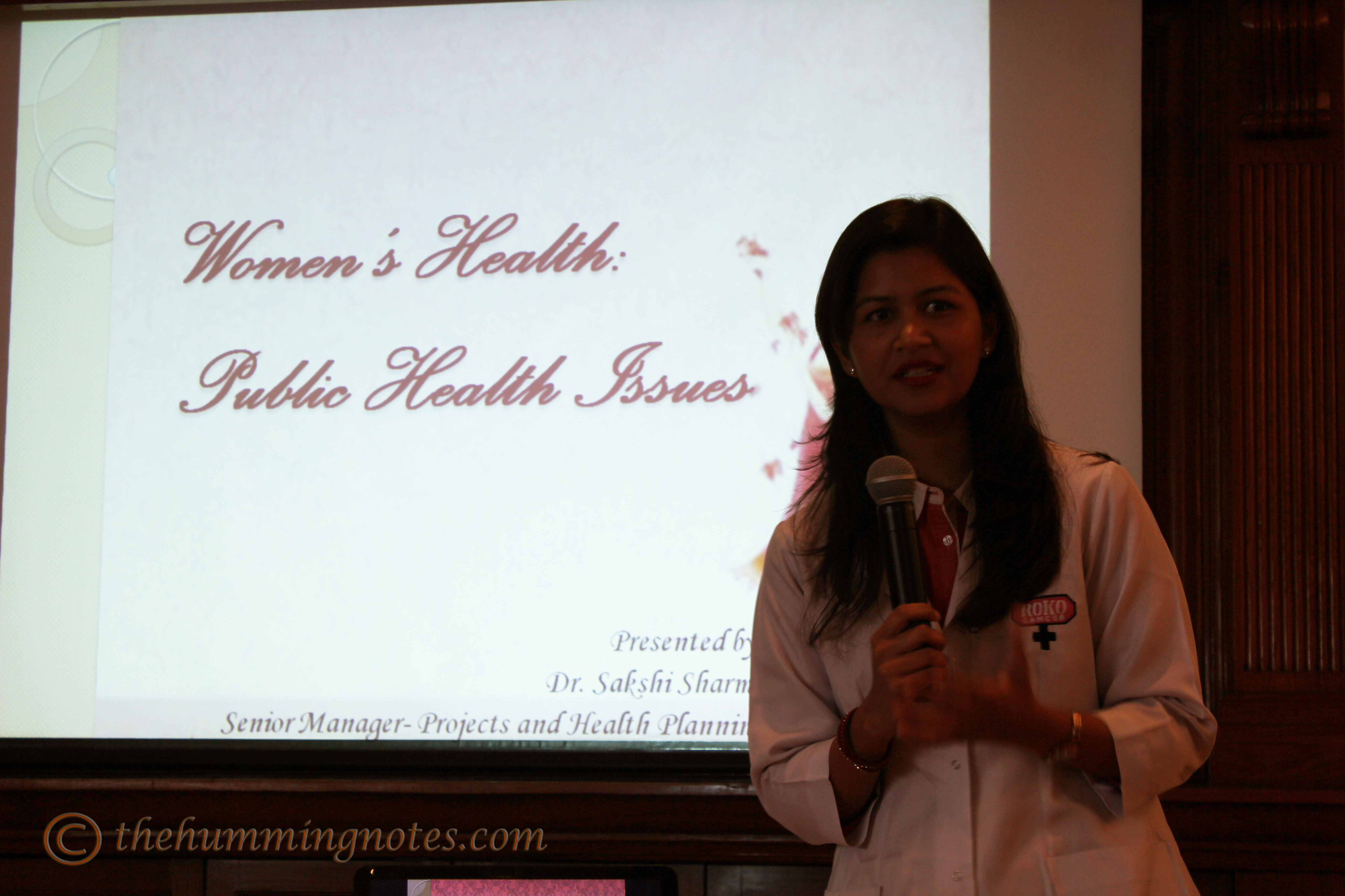 Dr. Sakshi Sharma taking the session on the importance of healthy living for women and preventing cancer
