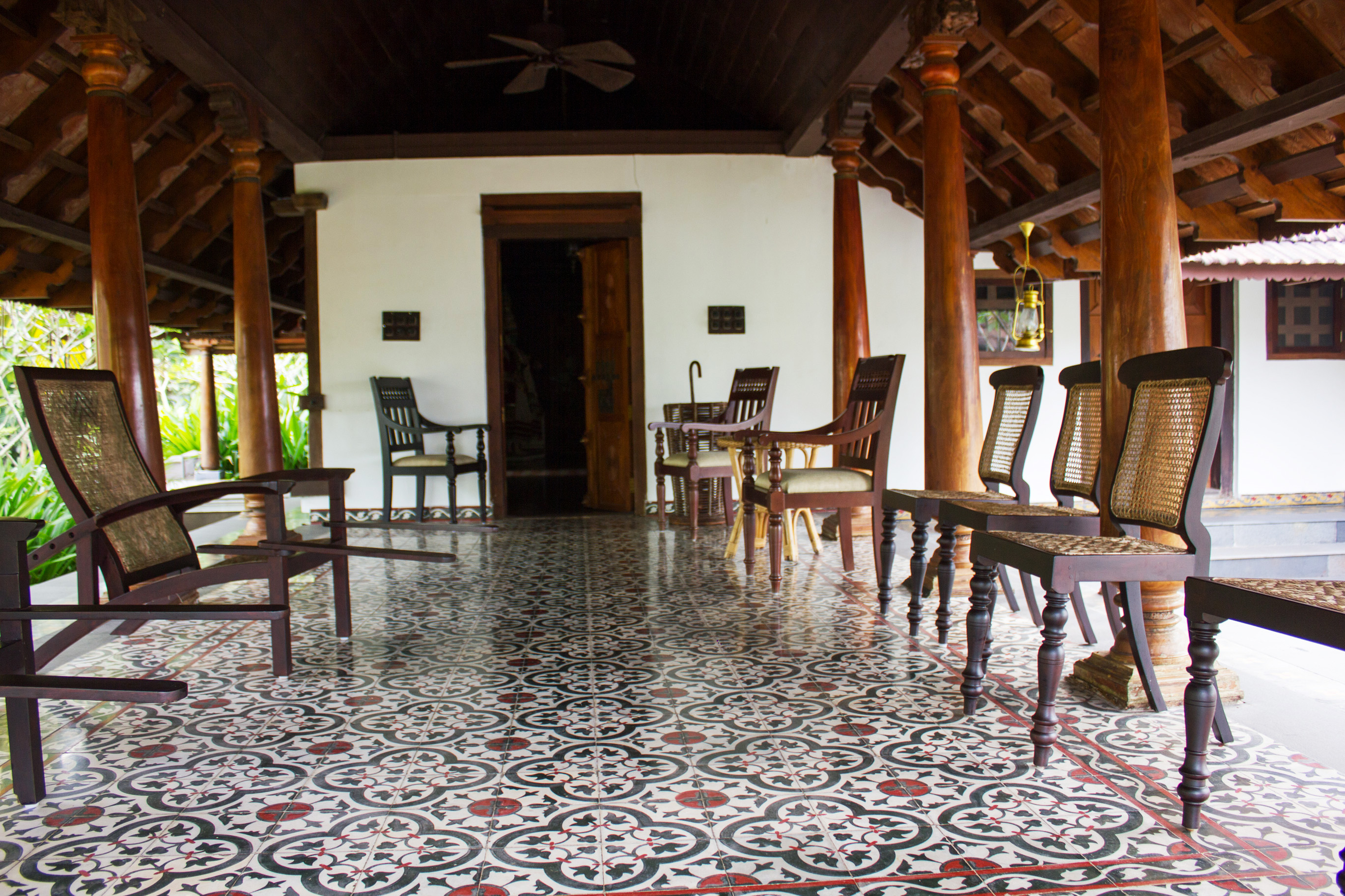 The porch of a heritage cottage - a veritable museum of Malayali lifestyle