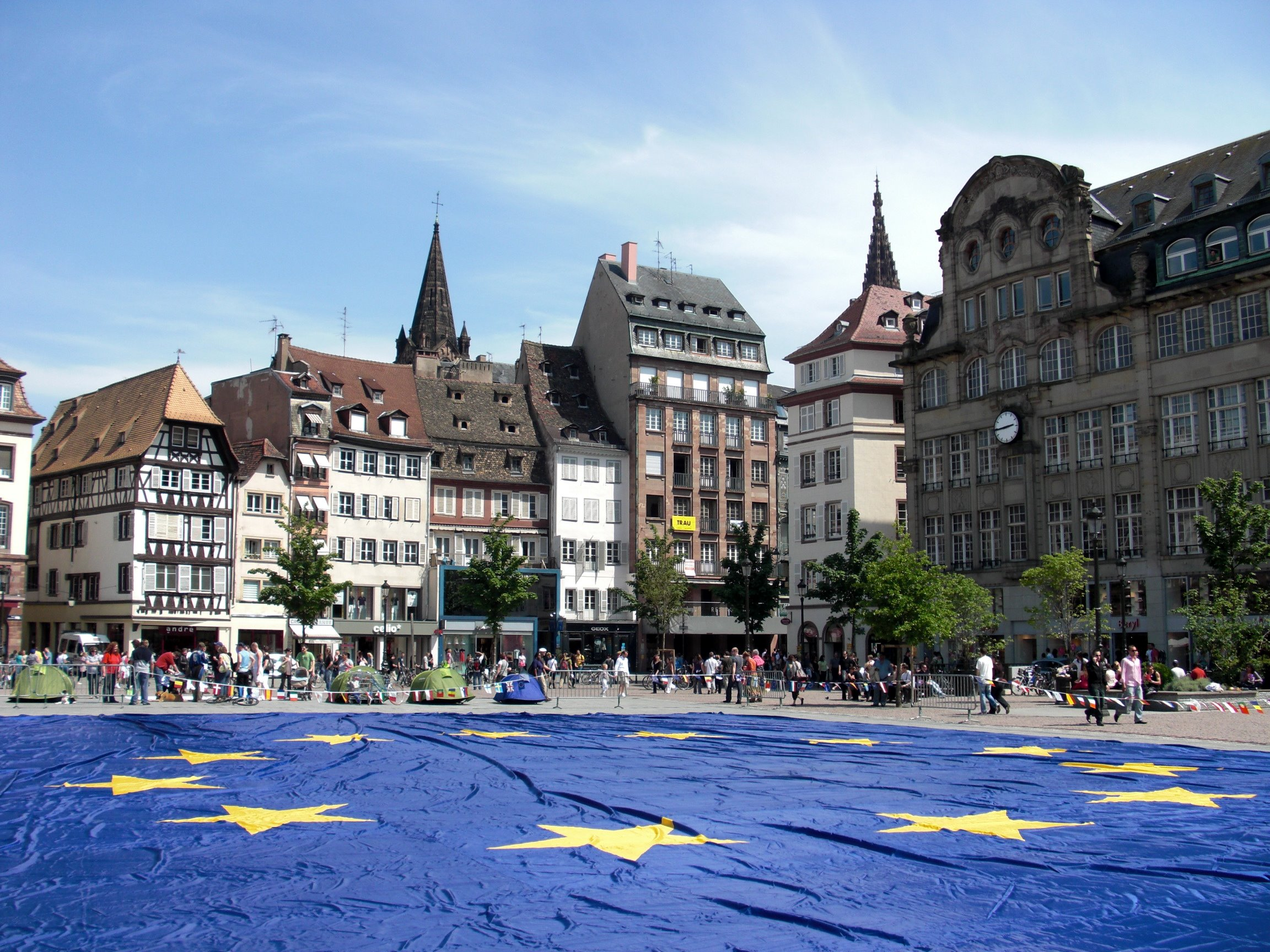 Big European flag at Strasbourg (France) to celebrate the Europe Day