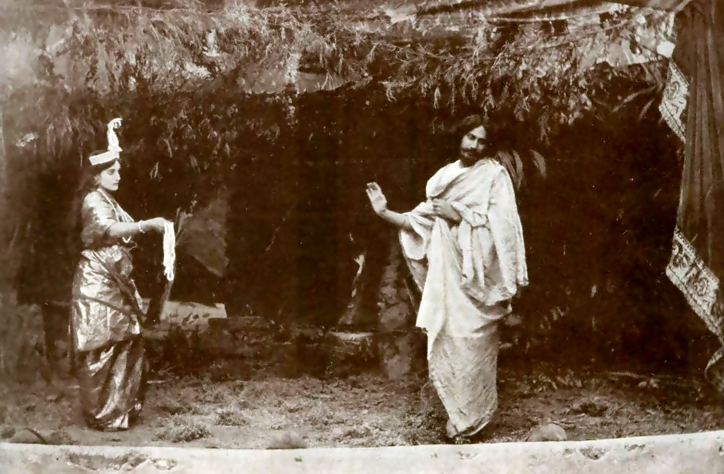 Tagore performing the title role in Valmiki Pratibha (1881) with his niece Indira Devi as the goddess Lakshmi; Image credit