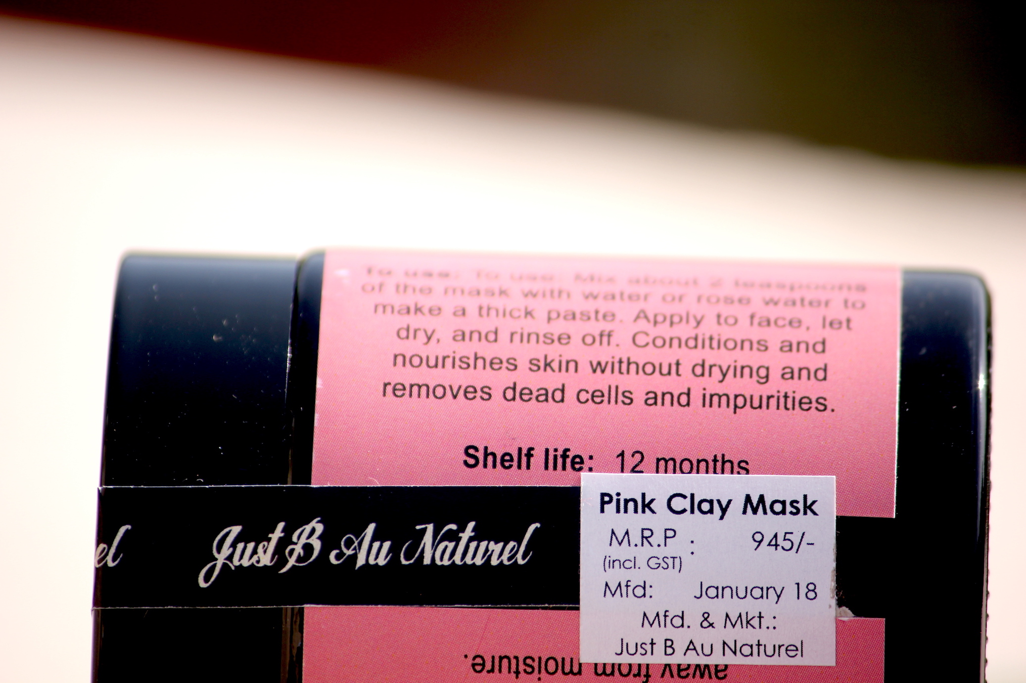Just B Au Naturel Pink Clay Mask