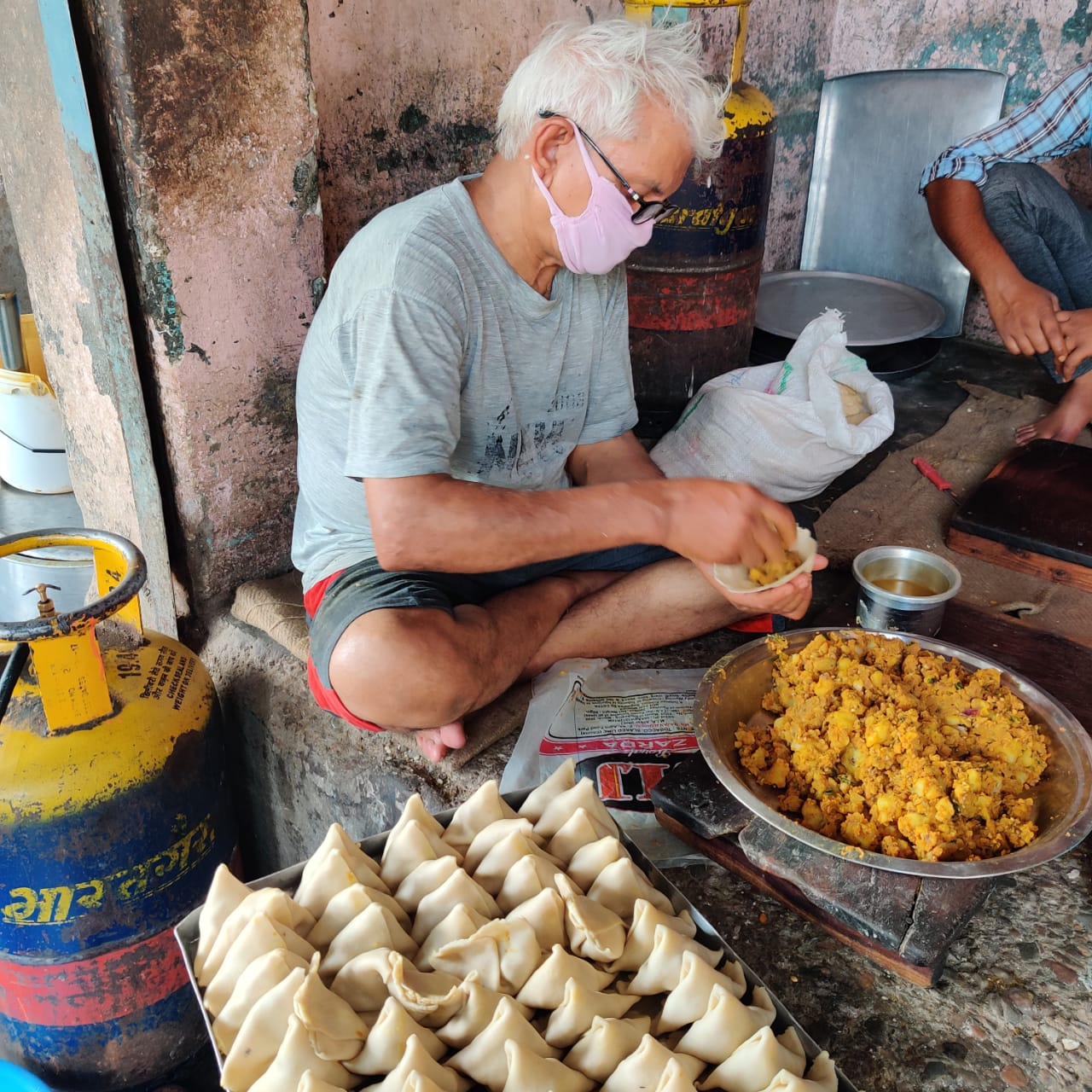 The Rajasthan version of fiery samosas in making.