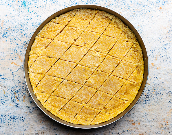 Mysore Pak - Traditional Indian sweet made from concoction of gram flour, clarified butter and powdered sugar